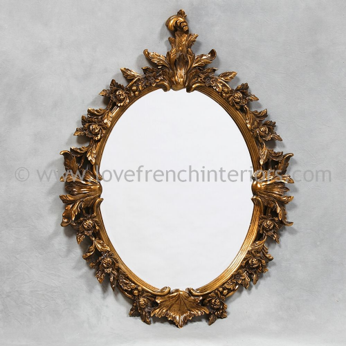 Ornate Oval Antique Gold Mirror